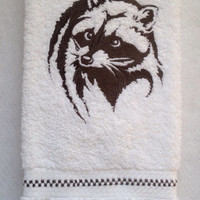 Northwoods Silhouette Raccoon Embroidered bathroom hand towel.