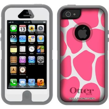 Otterbox Defender Pink Giraffe Print on White Case for iPhone 5