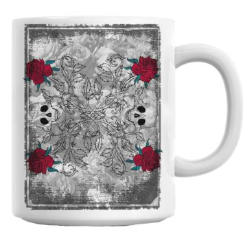 Gothic Skulls And Roses Coffee Mug Cup 11 Oz