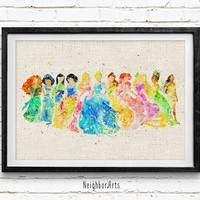 Disney Princess Watercolor Art Print, Princess Collection Wall Poster, Gift, Nursery Decor, Home Wall Art, Not Framed, Buy 2 Get 1 Free!