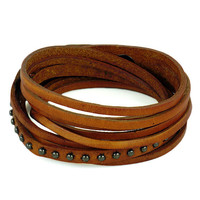 Rivet Wrap Bracelet Orange Leather Bracelet Women Leather Cuff Bracelet, Men Leather Bracelet Cuff  S052-OR