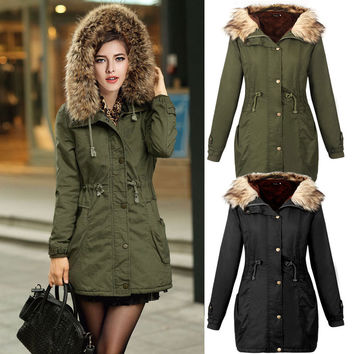 Women's Army Green Long Autumn Winter Casual Jackets Coats With Faux Fur Hooded Cargo Parkas Coat Warm Outwear Autumn Winter 0