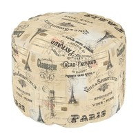 Paris Label Collage French Postcards Pouf Seat