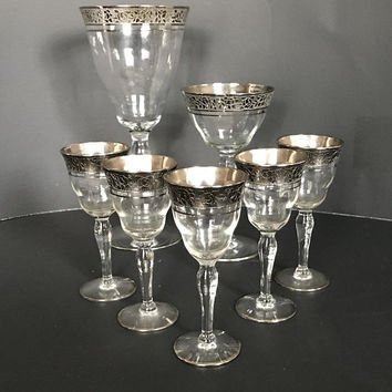Vintage Tiffin Cordial Glasses, Rambler Rose, Optic Crystal, Platinum Encrusted, Vintage Barware, Set of 5 Wedding Glasses, Tiffin Stemware,