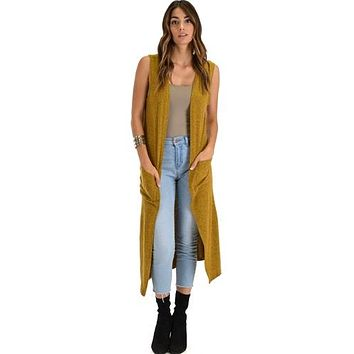 MUSTARD COVER ME UP LONG-LINE CARDIGAN VEST