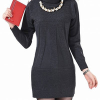 Gray Turtleneck long Sleeve Knitted Dress