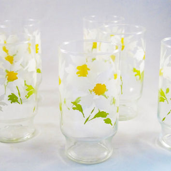 Vintage Glassware Drinking Glasses ABSTRACT DAISIES Set of 6