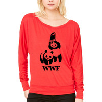 WWF WOMEN'S FLOWY LONG SLEEVE OFF SHOULDER TEE