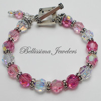 Classy Pink and Sterling Silver Bracelet Featuring Swarovski Pink Crystals and Bali Silver Beads