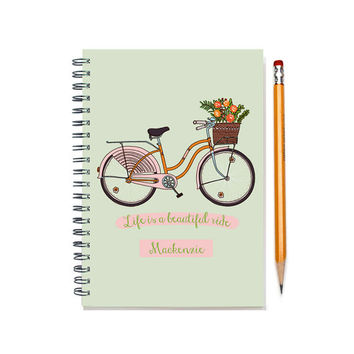 12 month 2015-2016 Planner, custom gift, Customizable daily agenda planner, weekly planner, life is a beautiful ride, SKU: pl pink bike