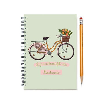 2015-2016 Monthly Planner Notebook, Personal Calendar Notebook, Custom Notebook & Monthly Calendar, Life is a Beautiful Ride, SKU: pn pbike