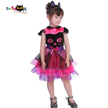 Cool Eraspooky 2-4T Cute Cat Tutu Dress Girls Animal Halloween Costume for kids Miss Kitty Toddler Cosplay Tail Carnival Fancy DressAT_93_12