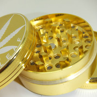 *Grind In Gold!!* 50mm 3 Part Aluminium Herb Weed Grinder Pollinator Metal Piece