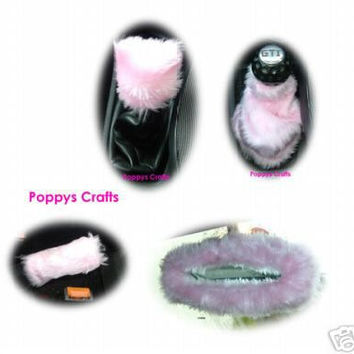 Baby Pink car accessories set Gear knob gaiter mirror handbrake covers faux fur furry fuzzy fluffy girly girl cute car Babe love