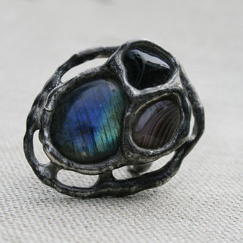 labradorite ring, onyx ring, agate ring, statement ring, gemstone ring, romantic ring, nostalgic ring flashy ring bohemian ring organic ring