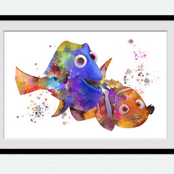 Nemo and Dory watercolor print Finding Nemo poster Nursery wall decor Disney decor Home decoration Kids room wall art Pixar art print W675