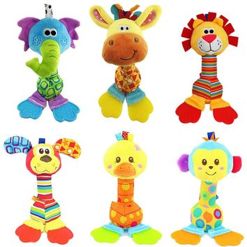 6 Types Giraffe Elephant Lion Dog Monkey Hand Holding A Rattan with Gumse and BB Ring Stickers 0-12 Months Safety Baby Toys