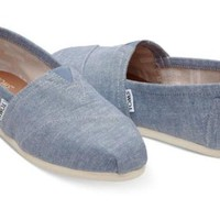 Toms Women's Classics Slip On Blue Slub Chambray