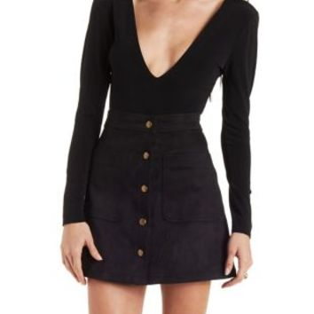 Caged Back Plunging Bodysuit by Charlotte Russe