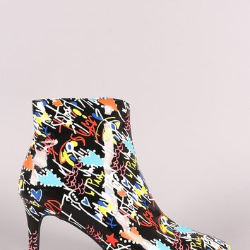 Bamboo Doodle Print Pointy Toe Kitten Heeled Booties