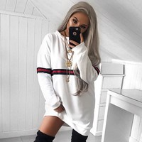 Patchwork Long Sleeves Scoop Loose Short Sweat Dress