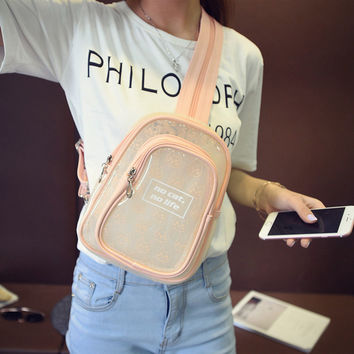 Candy Color Small Transparent Stylish Shoulder Bag Backpack