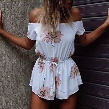 White Floral Print Slash Collar Drawstring Romper