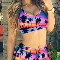 Pool Party Black Pink Blue Orange Red Palm Tree Sunset Sleeveless Scoop Neck Racerback Boyshort Two Piece Bikini Swimsuit