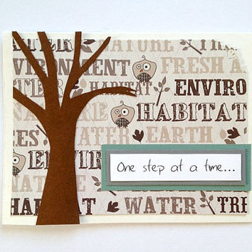 One Step At A Time ... Tree Nature-themed Handmade Thinking of You, Sympathy, Get Well Soon Greeting Card (Blank Inside)