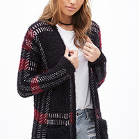 FOREVER 21 Fuzzy Plaid Cardigan Black/Burgundy