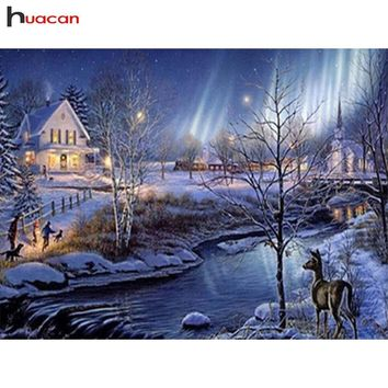 HUACAN Diamond Embroidery River 5D DIY Diamond Painting Christmas Landscape Picture Of Rhinestone Winter Home Decor Art Crafts