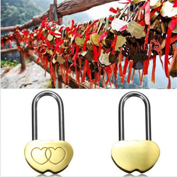 1PC Padlock Love Lock Engraved Double Heart Valentines Anniversary Day Gifts for GIRLFRIEND
