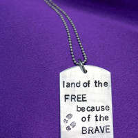Military Pride Dog Tag Keychain: Land of the Free because of the Brave Hand Stamped Dog Tag, Boot Prints, Military Family Jewelry