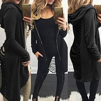 USA Women Long Maxi Cardigan Sweater Coat Knit Open Front Draped Hoodies Outwear
