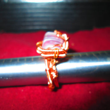 Chevron Amethyst Copper Wire Wrapped Ring Size 6 Working Artists Team