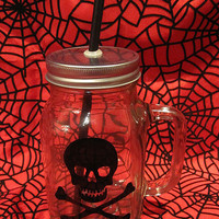 Skull and Crossbones Mason Drinking Jar