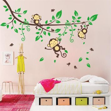 monkey wall sticker baby room decorations 1205. animals tree home pvc decal bedroom mural arts diy adesivo de parede 4.0