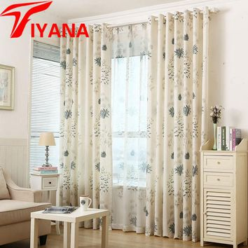 Pastoral Vintage Leaves Pattern Curtains For Balcony Living Room Cotton Linen Window Panels Door Window Drapes wp393#30
