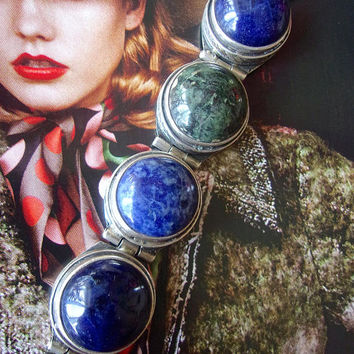 Genuine Lapis Cabochon Sterling Silver Hinged Bracelet, Heavy, Vintage