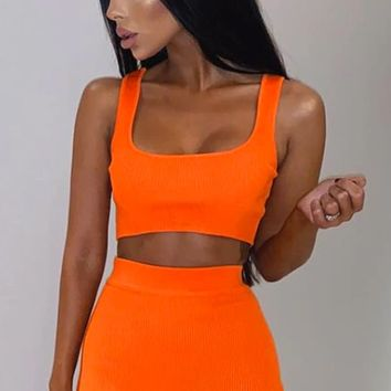 All Charged Up Sleeveless Ribbed Scoop Neck Crop Top Bodycon Two Piece Mini Dress - 4 Colors Available