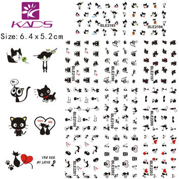 11Sheet lot BLE2193-2203 Black Cat design Water decal Nail Sticker For nail water transfer nail decals for Sticker Decals