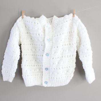 Hand Knitted Toddler Baby Cream Cardigan Baby Girl Matinee Coat Toddler Sweater Handmade Cardigan Baby Girl Sweater Size 12 to 24 months