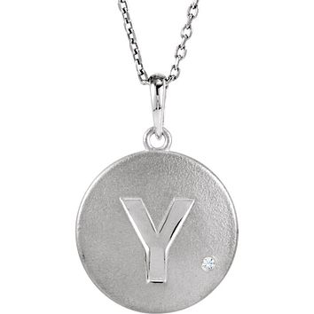 The Emma Sterling Silver Diamond Block Initial Y Disc Necklace, 18 In.