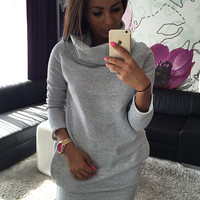 Plain Turtle-Neck Long Sleeve Bodycon Dress