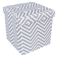 "Songmics Chevron Tufted Storage Ottoman Footrest Toy Chest 14 7/8"" Cube ULSF30V"