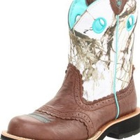 Ariat Women's Fatbaby Cowgirl Boot,Brown Crinkle/Snowflake,8.5 M US