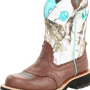 Ariat Women's Fatbaby Cowgirl Western Boot, Brown Crinkle/Snowflake, 8.5 M US