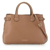 Burberry: Leather & Check Canvas Tote