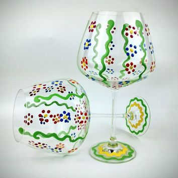 Spring flower painted wine glasses, Lenox, Hand Painted, High Quality, Lenox Glass, painted flower wine glasses, painted wine glasses