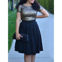 Stylish Scoop Neck Short Sleeve Sequins Plus Size Dress For Women